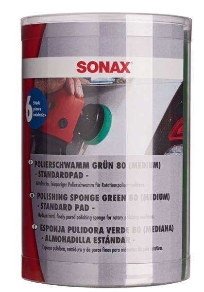 SONAX PolierSchwamm grün 80 (medium) - Six-Pack-